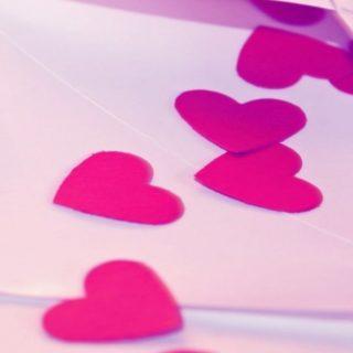 女子向けハート赤桃の iPhone4s 壁紙