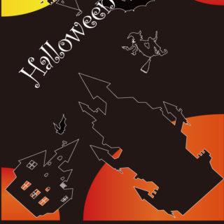 イラストハロウィン橙黒の iPhone4s 壁紙