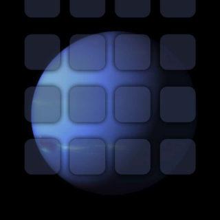 iOS9惑星黒クール棚の iPhone4s 壁紙