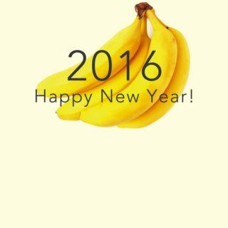 新年壁紙 happy news year 2016 バナナ黄色の iPhone4s 壁紙
