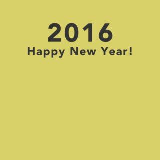 新年壁紙 happy news year 2016 黄色の iPhone4s 壁紙