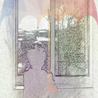 窓辺 傘の iPhone5s / iPhone5c / iPhone5 壁紙