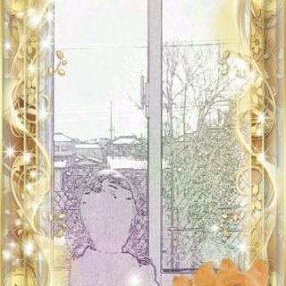 金縁 窓辺の iPhone5s / iPhone5c / iPhone5 壁紙