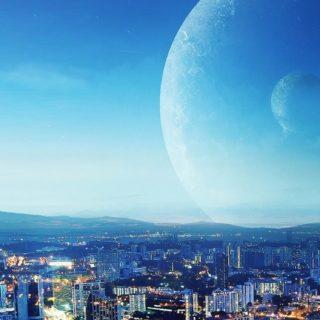 風景都会クール青の iPhone5s / iPhone5c / iPhone5 壁紙