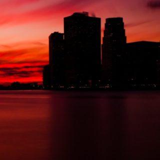 風景黒赤の iPhone5s / iPhone5c / iPhone5 壁紙