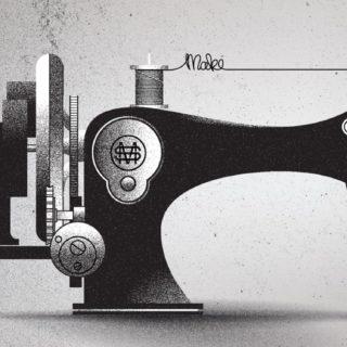 クールミシン黒の iPhone5s / iPhone5c / iPhone5 壁紙