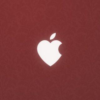 Appleハート赤の iPhone5s / iPhone5c / iPhone5 壁紙