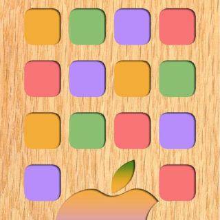 棚appleカラフル木目の iPhone5s / iPhone5c / iPhone5 壁紙