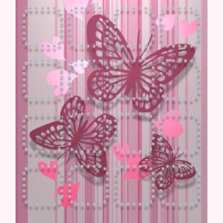 棚蝶可愛い女子向け赤桃の iPhone5s / iPhone5c / iPhone5 壁紙