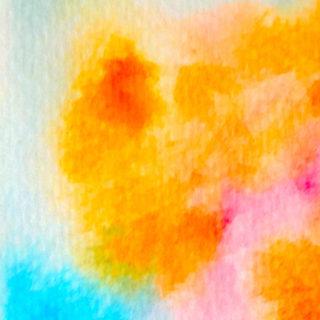 模様イラスト絵の具橙青の iPhone5s / iPhone5c / iPhone5 壁紙