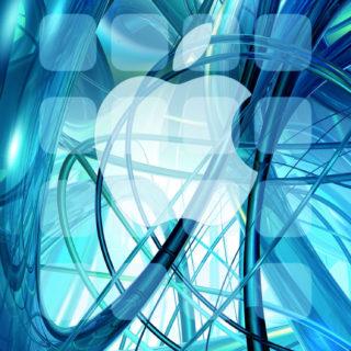 Appleロゴ棚クール青緑の iPhone5s / iPhone5c / iPhone5 壁紙