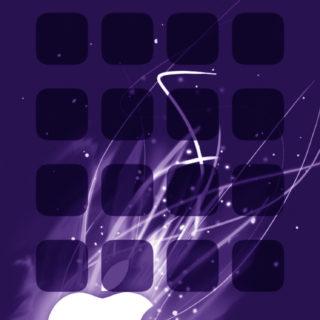 Appleロゴ棚クール紫の iPhone5s / iPhone5c / iPhone5 壁紙