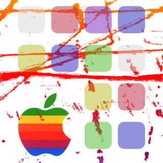 Appleロゴ棚カラフルの iPhone5s / iPhone5c / iPhone5 壁紙