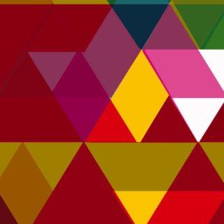 模様三角形赤茶色緑の iPhone5s / iPhone5c / iPhone5 壁紙