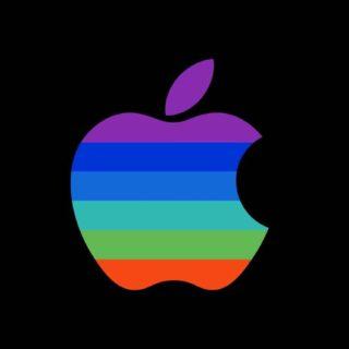 Appleロゴカラフル黒クールの iPhone5s / iPhone5c / iPhone5 壁紙