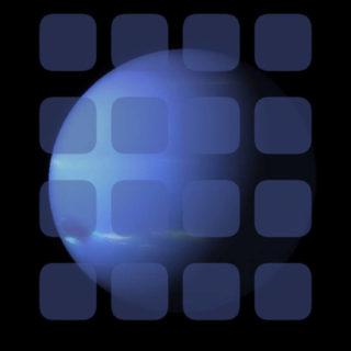 惑星青黒クール棚の iPhone5s / iPhone5c / iPhone5 壁紙