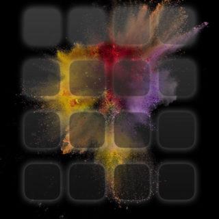 iOS9黒爆発カラフルクール棚の iPhone5s / iPhone5c / iPhone5 壁紙