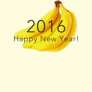 新年壁紙 happy news year 2016 バナナ黄色の iPhone5s / iPhone5c / iPhone5 壁紙