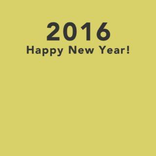 新年壁紙 happy news year 2016 黄色の iPhone5s / iPhone5c / iPhone5 壁紙