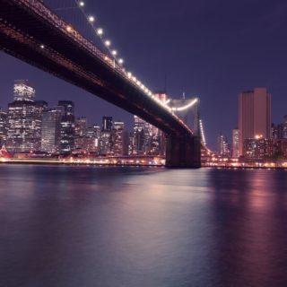 風景夜景港橋の iPhone5s / iPhone5c / iPhone5 壁紙