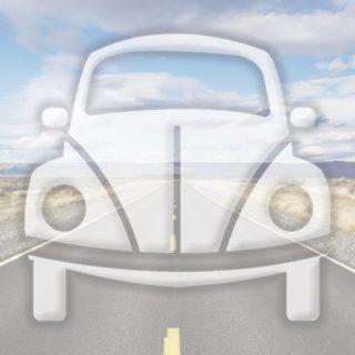 風景車道路青の iPhone5s / iPhone5c / iPhone5 壁紙