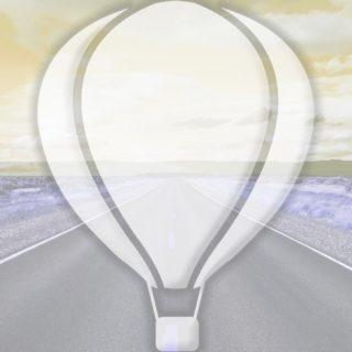風景道路気球黄の iPhone5s / iPhone5c / iPhone5 壁紙