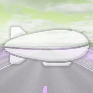 風景道路飛行船黄緑の iPhone5s / iPhone5c / iPhone5 壁紙