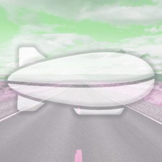 風景道路飛行船緑の iPhone5s / iPhone5c / iPhone5 壁紙