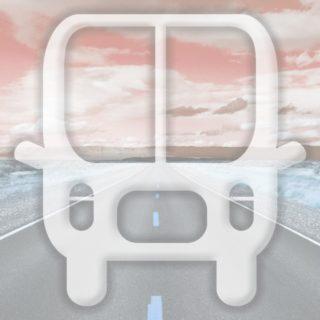 風景道路バス橙の iPhone5s / iPhone5c / iPhone5 壁紙