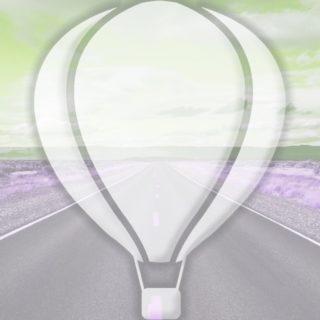 風景道路気球黄緑