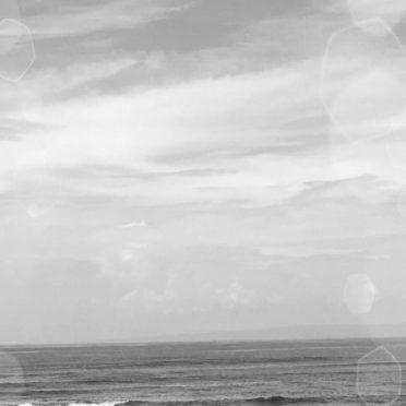 海 モノクロの iPhone6s / iPhone6 壁紙