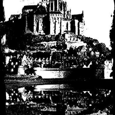 モンサンミッシェル モノクロの iPhone6s / iPhone6 壁紙