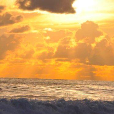 景色夕暮れ海の iPhone6s / iPhone6 壁紙