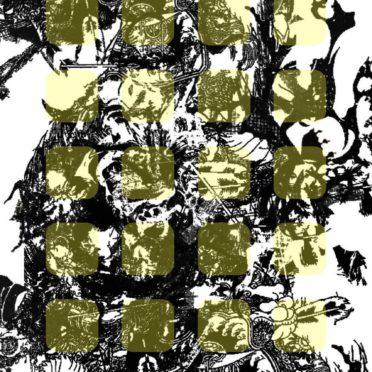イラスト黒白黄棚の iPhone6s / iPhone6 壁紙