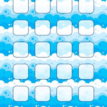 イラスト波模様青水棚女子向けの iPhone6s / iPhone6 壁紙