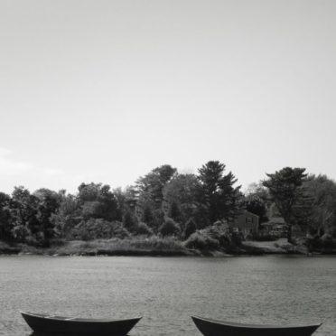風景ボート山白黒の iPhone6s / iPhone6 壁紙