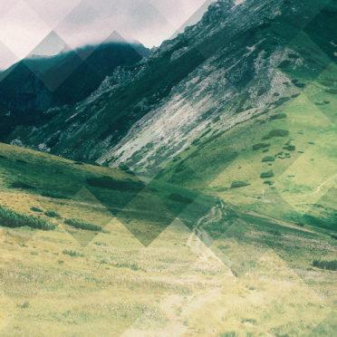 風景草原山緑青黒の iPhone6s / iPhone6 壁紙