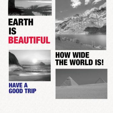 風景写真モノクロEARTH IS BEAUTIFULの iPhone6s / iPhone6 壁紙