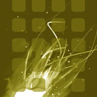 Appleロゴ棚クール黄の iPhone6s / iPhone6 壁紙