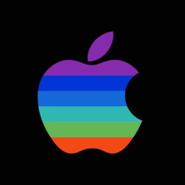 Appleロゴカラフル黒クールの iPhone6s / iPhone6 壁紙