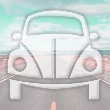 風景車道路水色の iPhone6s / iPhone6 壁紙
