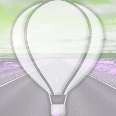 風景道路気球黄緑の iPhone6s / iPhone6 壁紙