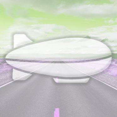 風景道路飛行船黄緑の iPhone6s / iPhone6 壁紙