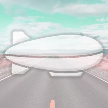 風景道路飛行船水色の iPhone6s / iPhone6 壁紙
