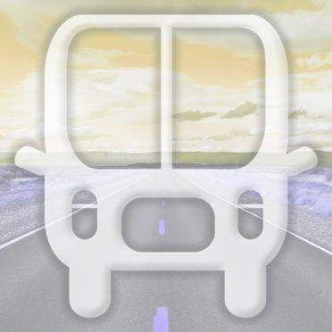 風景道路バス黄の iPhone6s / iPhone6 壁紙