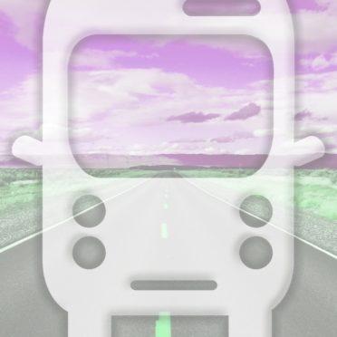 風景道路バス桃の iPhone6s / iPhone6 壁紙