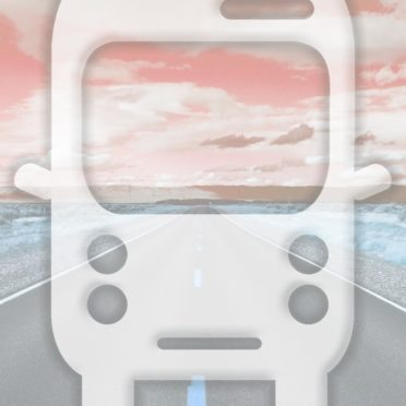 風景道路バス橙の iPhone6s / iPhone6 壁紙