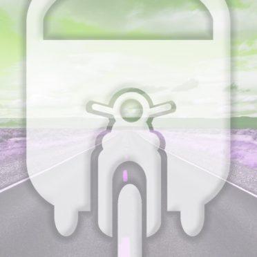 風景道路乗り物黄緑の iPhone6s / iPhone6 壁紙