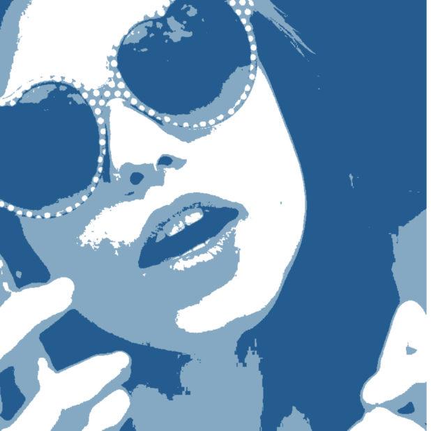 キャラクター女性青の iPhone6s Plus / iPhone6 Plus 壁紙