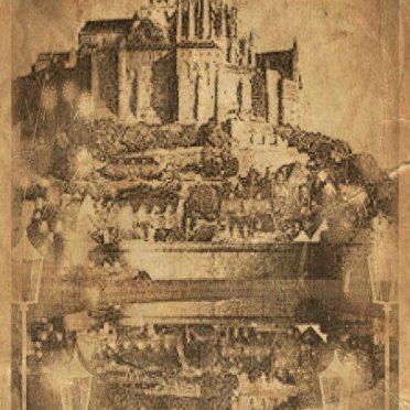 モンサンミッシェル モノクロの iPhone7 壁紙